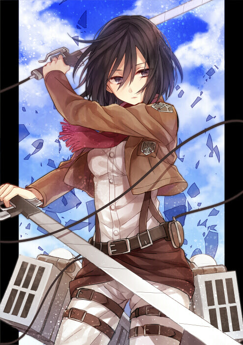 mikasa getting ready for battle
