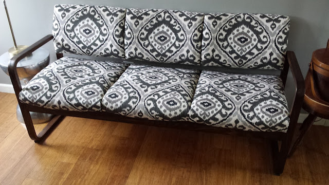 Home office upholstered couch ikat fabric
