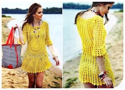Vestido salida de playa motivo calado crochet