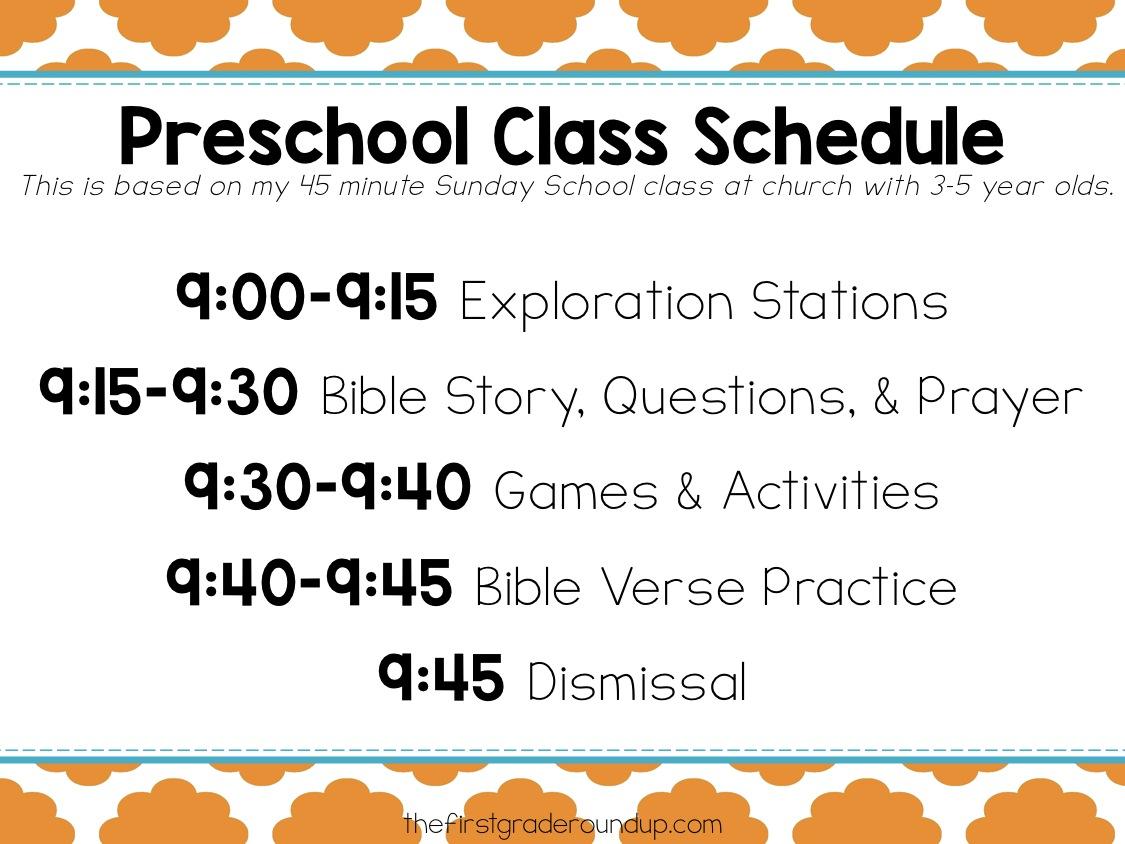 Preschool Sunday School Schedule