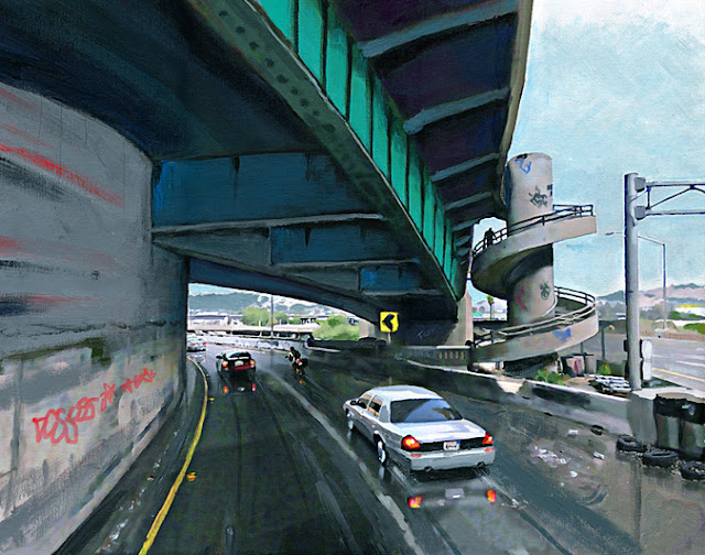 "Pasadena Harbor 110 freeway, Los Angeles, art, painting by Beacham ""Beach"" Owen"