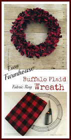 Vintage, Paint and more... Easy Farmhouse Buffalo Plaid fabric rag wreath made with three items can be done in one afternoon