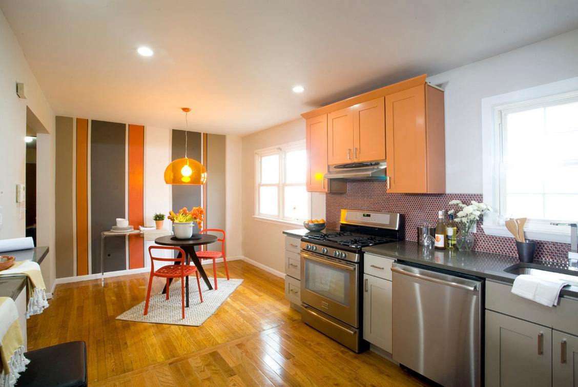 Delorme Designs: GRAY AND ORANGE KITCHEN