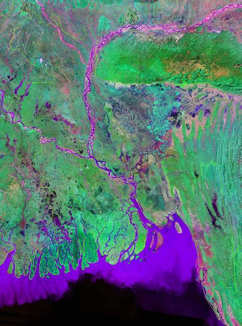 Gambar Peta negara Bangladesh tampak dari satelit