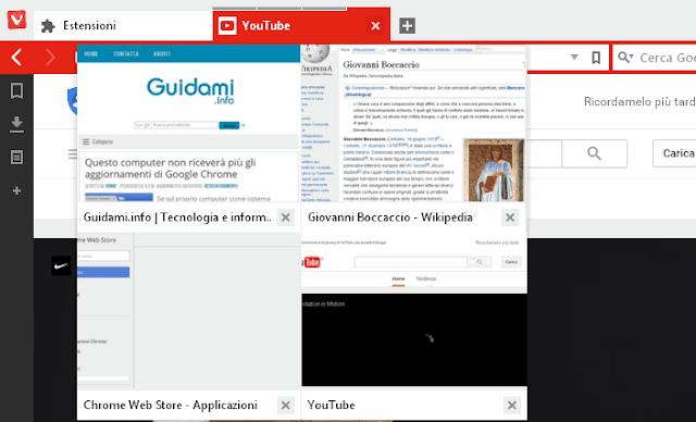 Vivaldi browser gruppi di schede