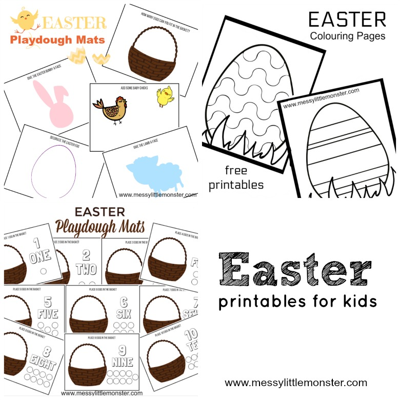 Easter crafts and activities for kids. Fun ideas for toddlers, preschoolers and older children. Easter egg, Easter bunny, Easter chick and free printable sheets included.