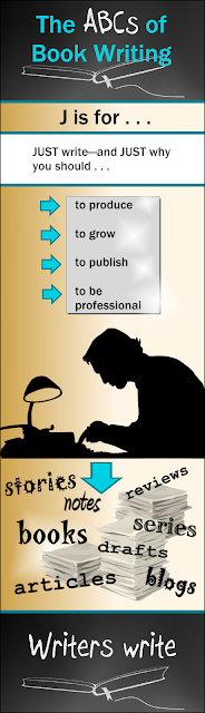 Infographic for Weekly Blog Series on Book Writing and Publishing: J is for JUST write