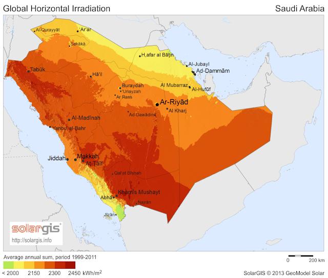 خريطة الاشعاع الشمسي في المملكة العربية السعودية