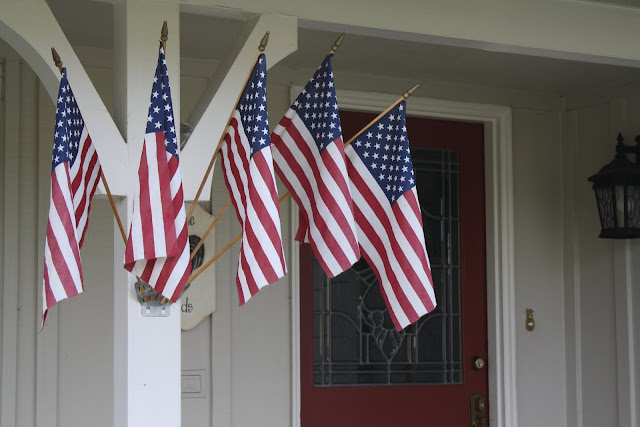 front porch American flags