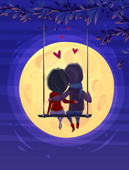 Valentine's day swing couple free vector illustration