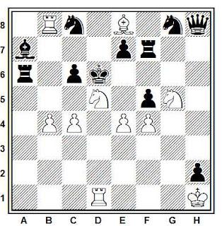 Problema de mate en 2 compuesto por Leonid Makaronez (Mat 1972, 1º Premio)