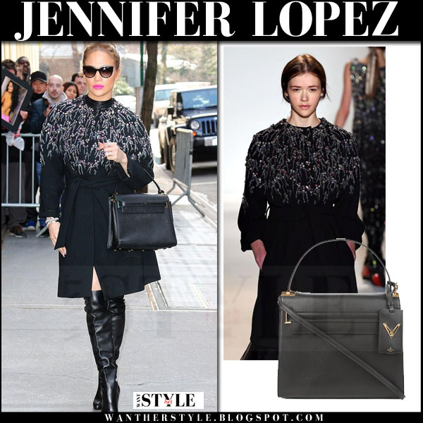Jennifer Lopez in black sequin embellished jenny packham coat, black boots with black valentino my rockstud bag what she wore luxe style
