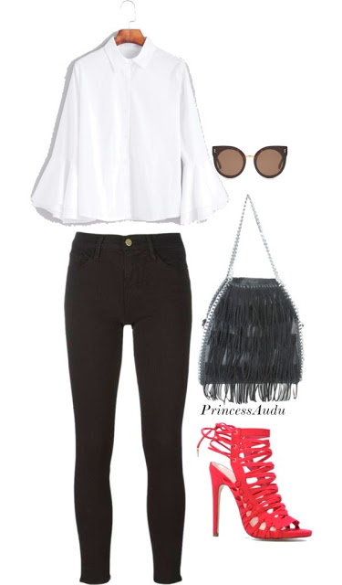flared sleeve shirt, white trousers, fringe purse, red stappy sandals