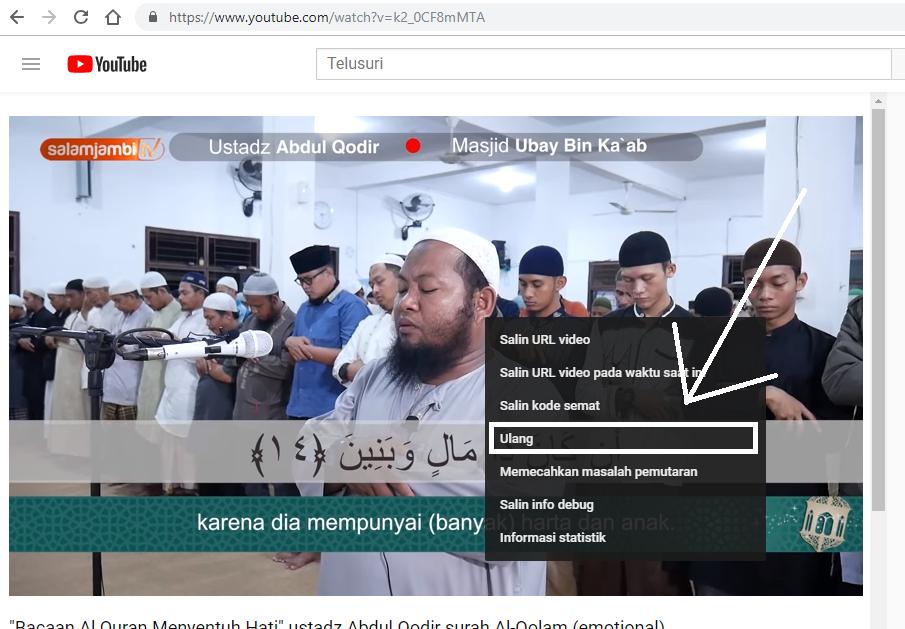 2 Cara Memutar Video Youtube Secara Berulang-ulang (Repeat) Otomatis di PC