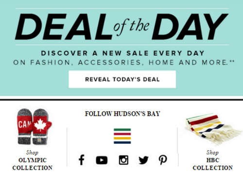 Hudson's Bay Famous One Day Deal of the Day