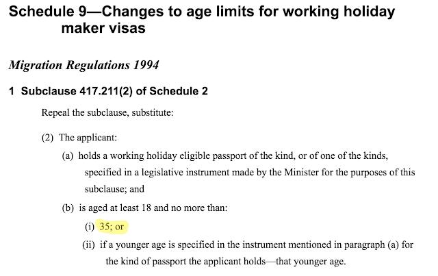 ワーキングホリデーの年齢制限緩和の法案
