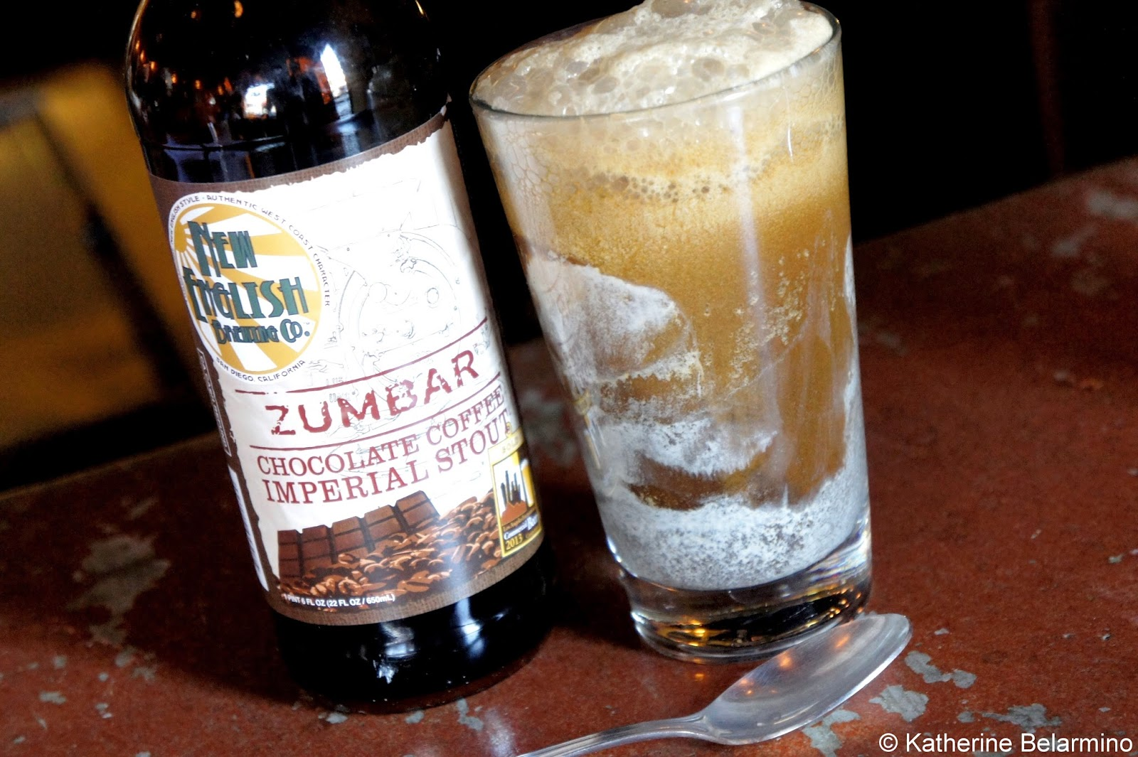 New English Brewing Company Zumbar Chocolate Coffee Imperial Stout Ice Cream Float Cueva Bar San Diego