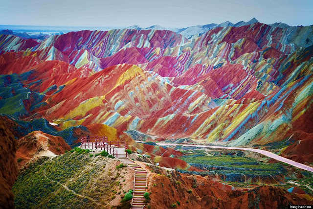 Rainbow Mountains In China's Danxia Landform Geological