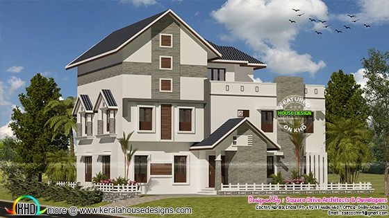 Modern sloping roof villa 3420 sq-ft