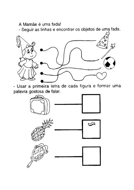 Atividade Dia das Mães para Educação Infantil  Atividade de ligar, riscar e desenhar par ao Dia das Mães