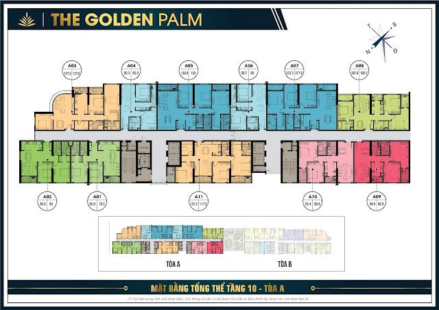 Mặt bằng tầng 10 chung cư The Golden Palm
