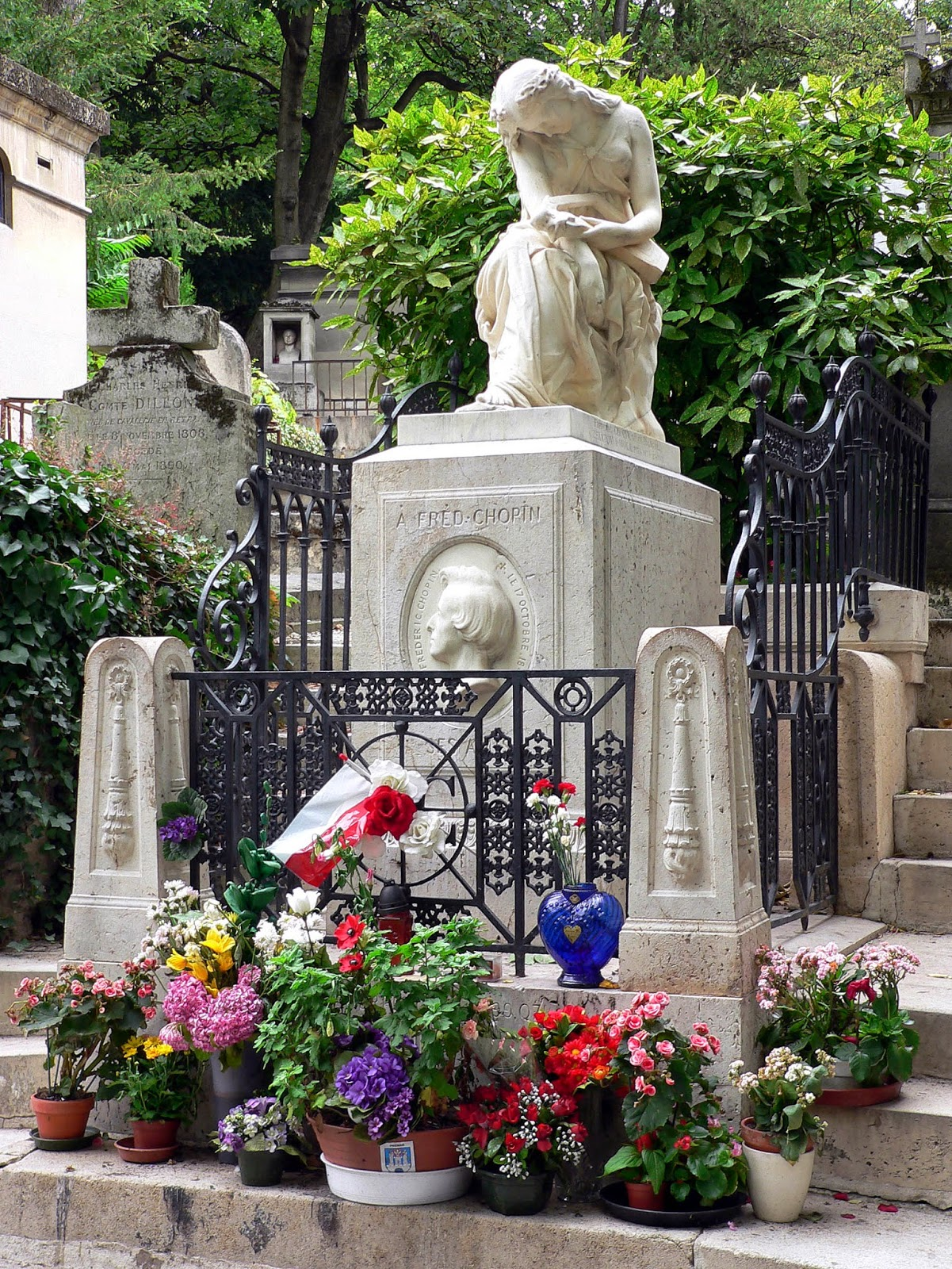 Frederic Chopin grave site at the Pere Lachaise Cemetary Paris, France