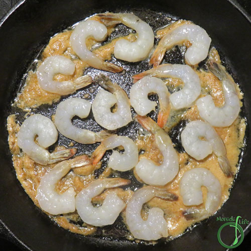 Morsels of Life - Miso Butter Shrimp Step 4 - Add in shrimp, and cook for about 5 minutes, or until shrimp are done.