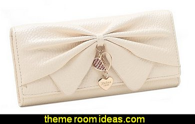 Faux Leather Bifold Large Bow Design Wallet Handbag