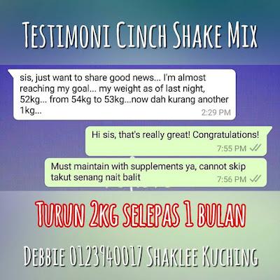 Testimoni Cinch Shake Mix - Turun 2kg Selepas 1 Bulan