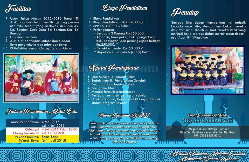 Contoh Brosur Pendaftaran Paud Dan Tk Islam Terpadu Full Warna