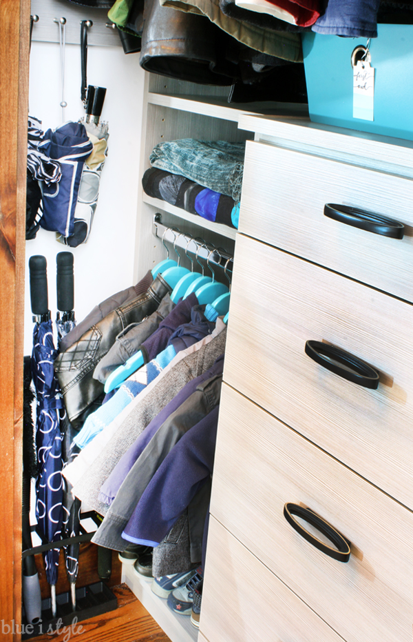 Umbrella stand in coat closet