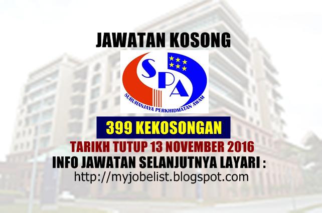 Jawatan Kosong Suruhanjaya Perkhidmatan Awam (SPA8) November 2016