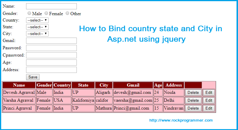How to Bind Country state and City in asp net using jquery