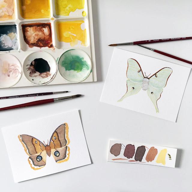 watercolor, painting, moths, Luna Moth, Polyphemus Moth, Anne Butera, My Giant Strawberry