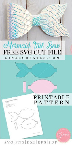 image relating to Free Printable Hair Bow Templates identify I Which include Large Bows: Totally free Mermaid Tails bow template for Phony