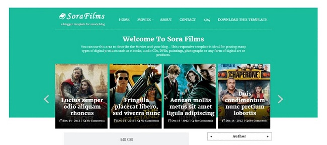 Sora Films Responsive Movie Blogger Template
