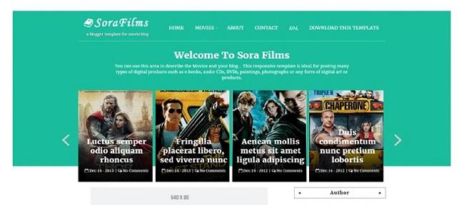 Sora Films Responsive Movie Blogger Template
