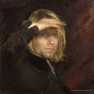 fotomontaggio Kurt Cobain in dipinto