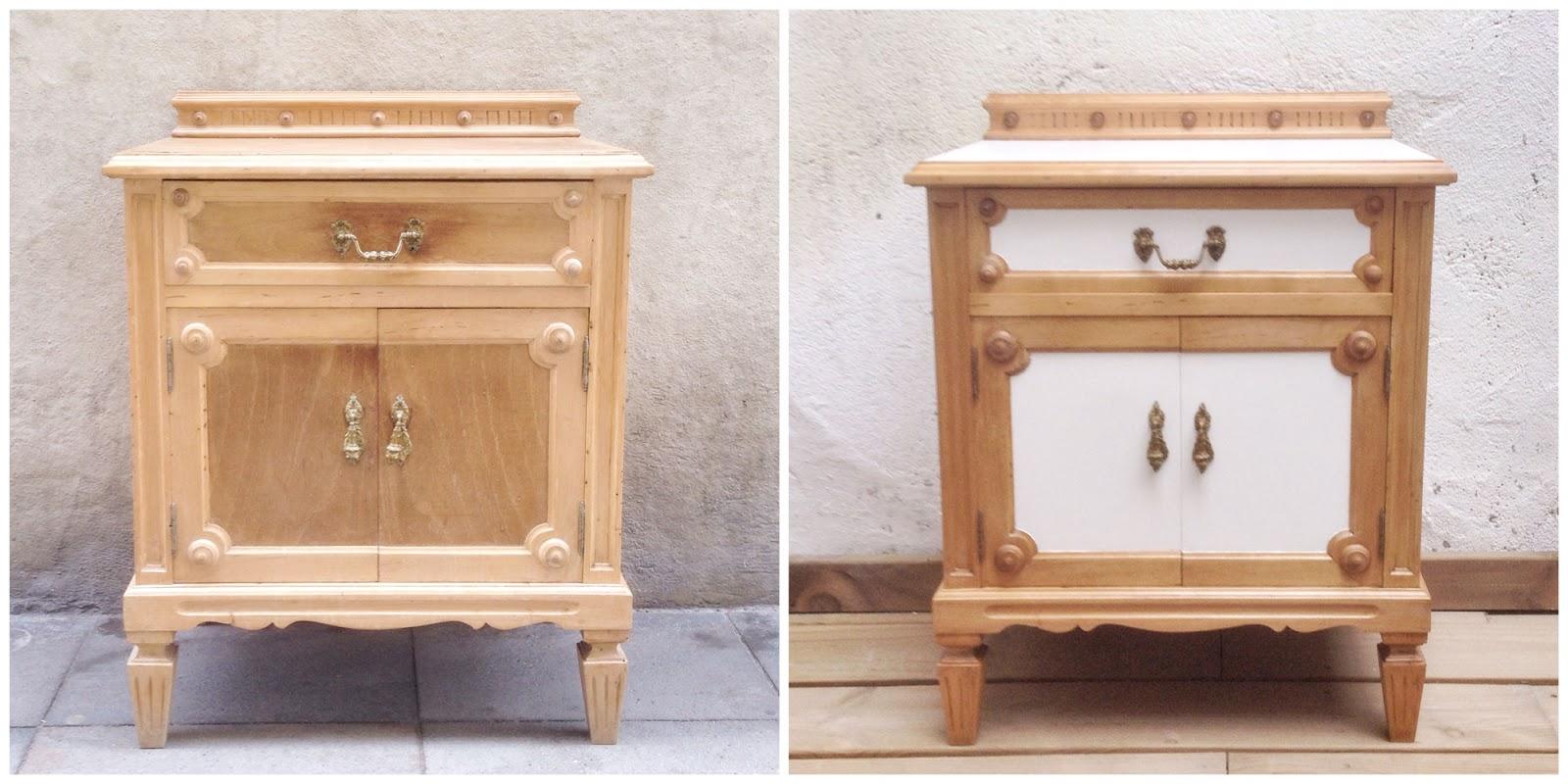 Antes y Después - Mesita de noche en blanco y madera