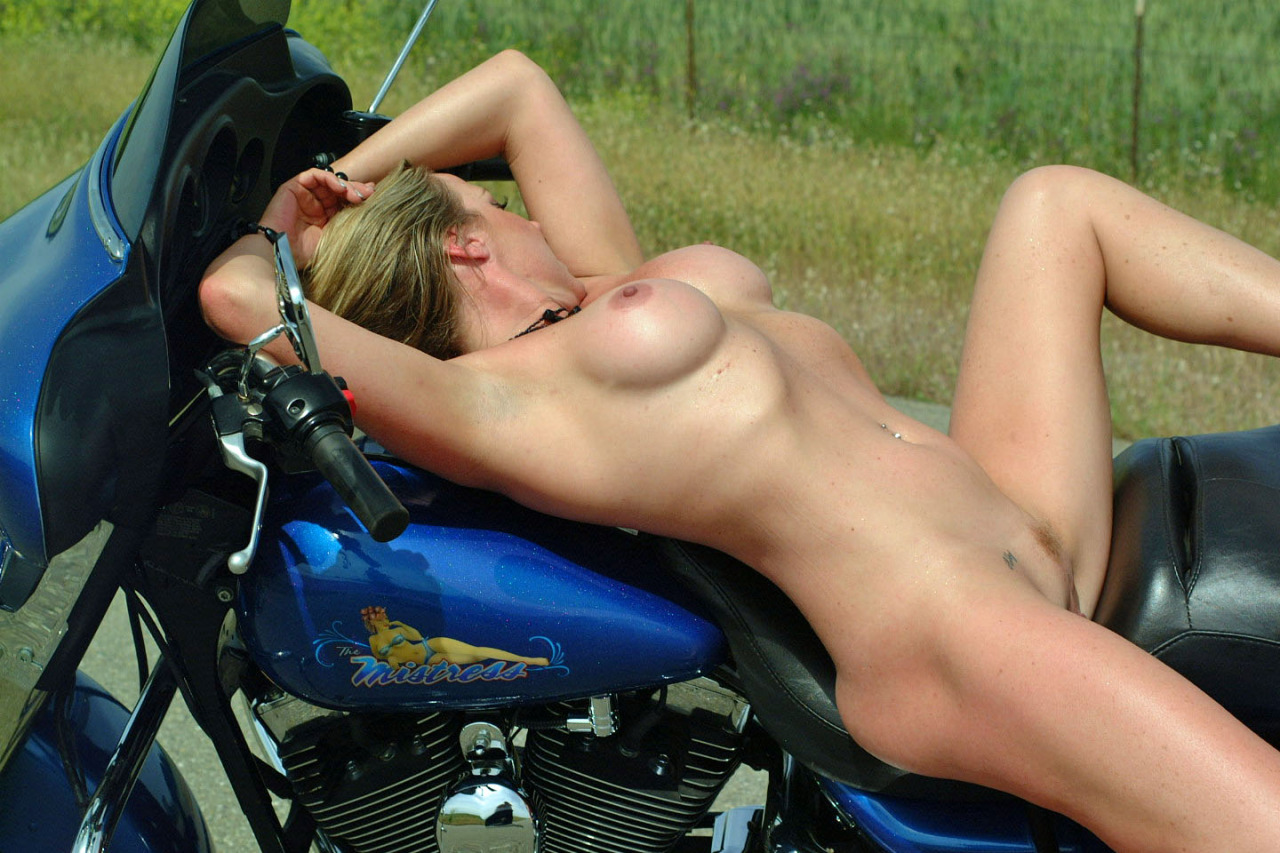 Milf hunter hot big tits biker babe gets pounded against her motorcycle