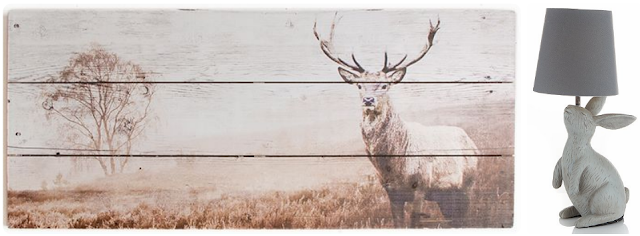 A stag wooden print wall art & a rabbit lamp