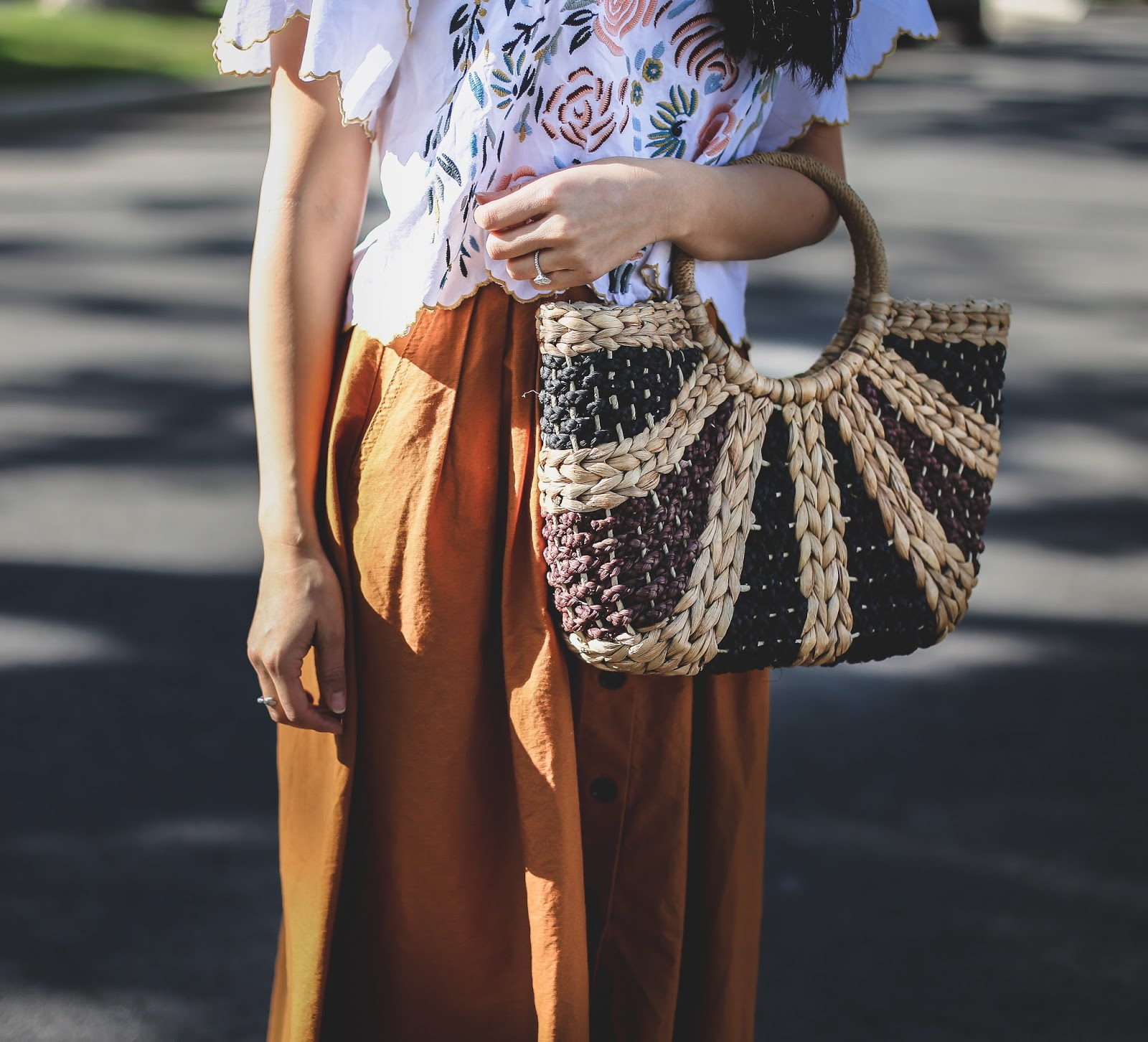 straw tote outfit idea