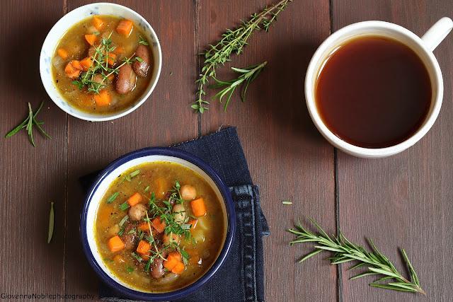 Zuppa di fagioli, ceci e zucca