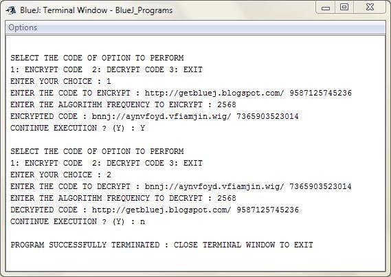 Encryption Decryption : Java : BlueJ