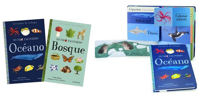 libros infantiles con pestañas, solapas, ventanas, mundo escondido larouse bosque océano