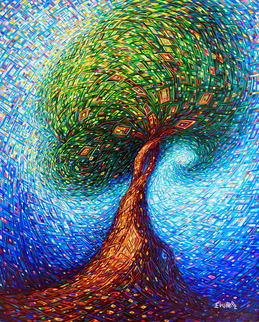 14-In-the-Tree-Eduardo-R-Calzado-Paintings-in-Swirls-of-Colour-www-designstack-co