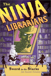 Book cover: 'The Ninja Librarians, Sword in the Stacks.' Image depicts three figures against a backdrop of floor-to-ceiling rows of shelves stacked with books and the skeletons of small animals. An enormous portrait of a mustachioed man in a hat glowers down at them.