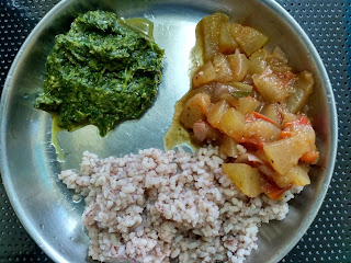 Hand pounded boiled rice, Ash Gourd curry, Amaranth greens with Green gram sprouts masiyal
