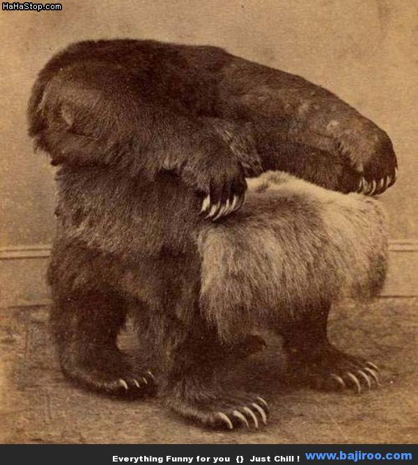 Sillón con piel de oso