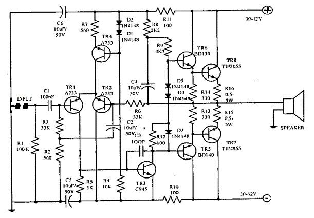 150 watt amplifier circuitcircuit diagram world